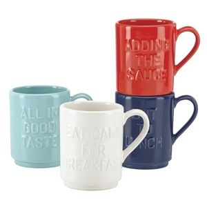 NIB Kate Spade All In Good Taste Stacking Mugs
